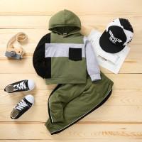 Pantalones y sudadera con capucha de manga larga con bloques de color para niños pequeños - Hibobi