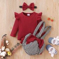 Baby Girl Bowknot Decor Romper & Plaid Print Strap Pants & Headband - Hibobi