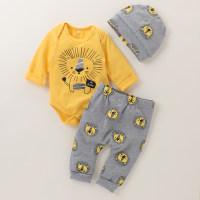 Mameluco de manga larga con estampado de león para bebé, pantalones y gorro - Hibobi