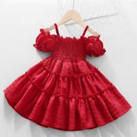 Toddler Girl Solid Color Puff Sleeve Slip Dress - Hibobi