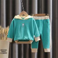 Sudadera con capucha y pantalones en bloque de color con patrón de conejo para niña pequeña - Hibobi