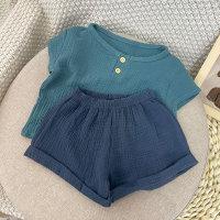Camiseta y pantalones cortos de color liso para niño pequeño - Hibobi