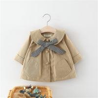 Gabardina de color liso con decoración de bowknot para niña pequeña - Hibobi