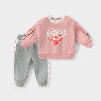 Sudadera con capucha y pantalones con decoración de encaje con patrón en forma de corazón para niña pequeña - Hibobi