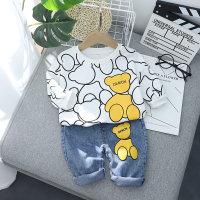 Baby Boy Bear Print Color-block sudadera con capucha y pantalones - Hibobi