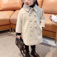 Toddler Girls Cotton Basic Solid Fleece-lined Duffle Coat - Hibobi