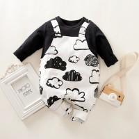 Mono de tirantes de manga larga con estampado de nubes de Hibobi para bebé niño - Hibobi