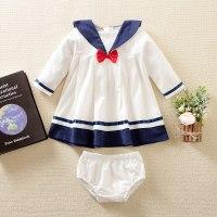 hibobi Vestido y pantalón bebé niña con lazo y cuello azul marino - Hibobi