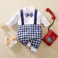hibobi - Mono azul con estampado de cuadrícula de pajarita para bebé niño - Hibobi
