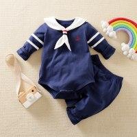 Pelele y pantalón de manga larga con cuello azul marino de hibobi Baby - Hibobi
