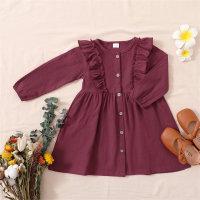hibobi Toddler Girl Floral Ruffle Long Sleeve Dress - Hibobi