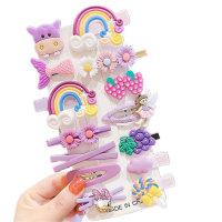 Toddler Girl Floral Decor Color-block Hair Clip - Hibobi