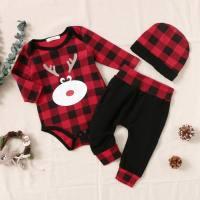 hibobi Baby Boy Christmas Red Grid Elk Pattern Romper & Pant & Hat - Hibobi