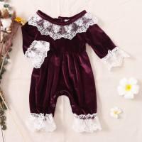 hibobi Baby Girl Lace Ruffle Long Sleeve Velvet Jumpsuit & Bow Headband - Hibobi